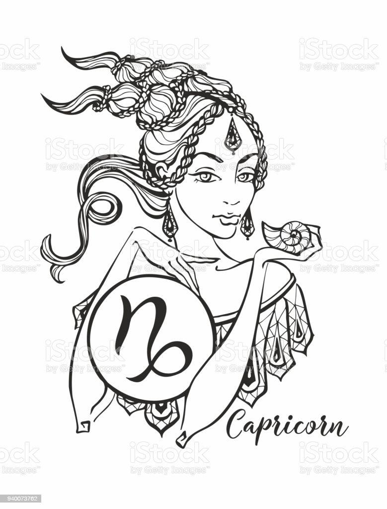 Oğlak Astroloji Işareti Olarak Güzel Bir Kız Burç Astroloji Boyama