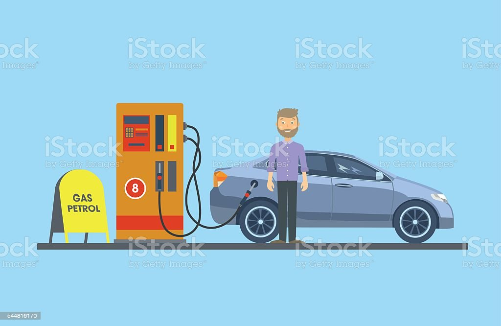 The car at the gas station with the driver vector art illustration