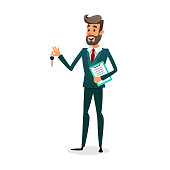The car dealer gives the keys. Happy auto seller with documents. A cartoon confident young salesman is selling a car. The automobile owner makes a deal. Man Renting a Car