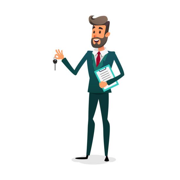 ilustraciones, imágenes clip art, dibujos animados e iconos de stock de el distribuidor de coche da las claves. vendedor de auto feliz con documentos. un vendedor joven confía en dibujos animados es la venta de un coche. el propietario del automóvil hace un trato. hombre de alquiler de coches - corredor de bolsa
