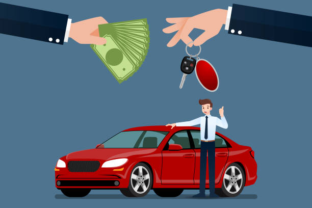 The car dealer's hand make an exchange between the car and the customer's money. Vector illustration design. The car dealer's hand make an exchange between the car and the customer's money. Vector illustration design. car salesperson stock illustrations