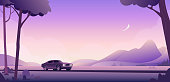The car drives along the highway against the background of the river plain and mountains. Summer morning muscle car adventure. Travelling by car