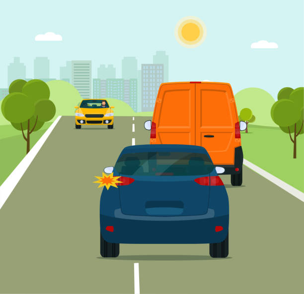 The car is going to overtake on a suburban highway. Vector flat style illustration. vector art illustration