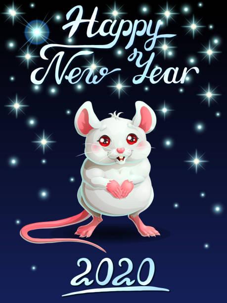 Bекторная иллюстрация The card cute white mouse ondark-blue vert