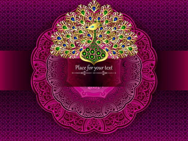 Die Karte oder Hochzeitseinladung mit einem rosa Kreismuster im indischen, arabischen, islamischen und türkischen Stil und gold Pfau Juwelen – Vektorgrafik