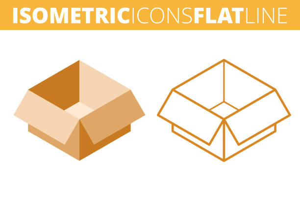 The cardboard box. Isometric, 3d flat and outline icon set. vector art illustration