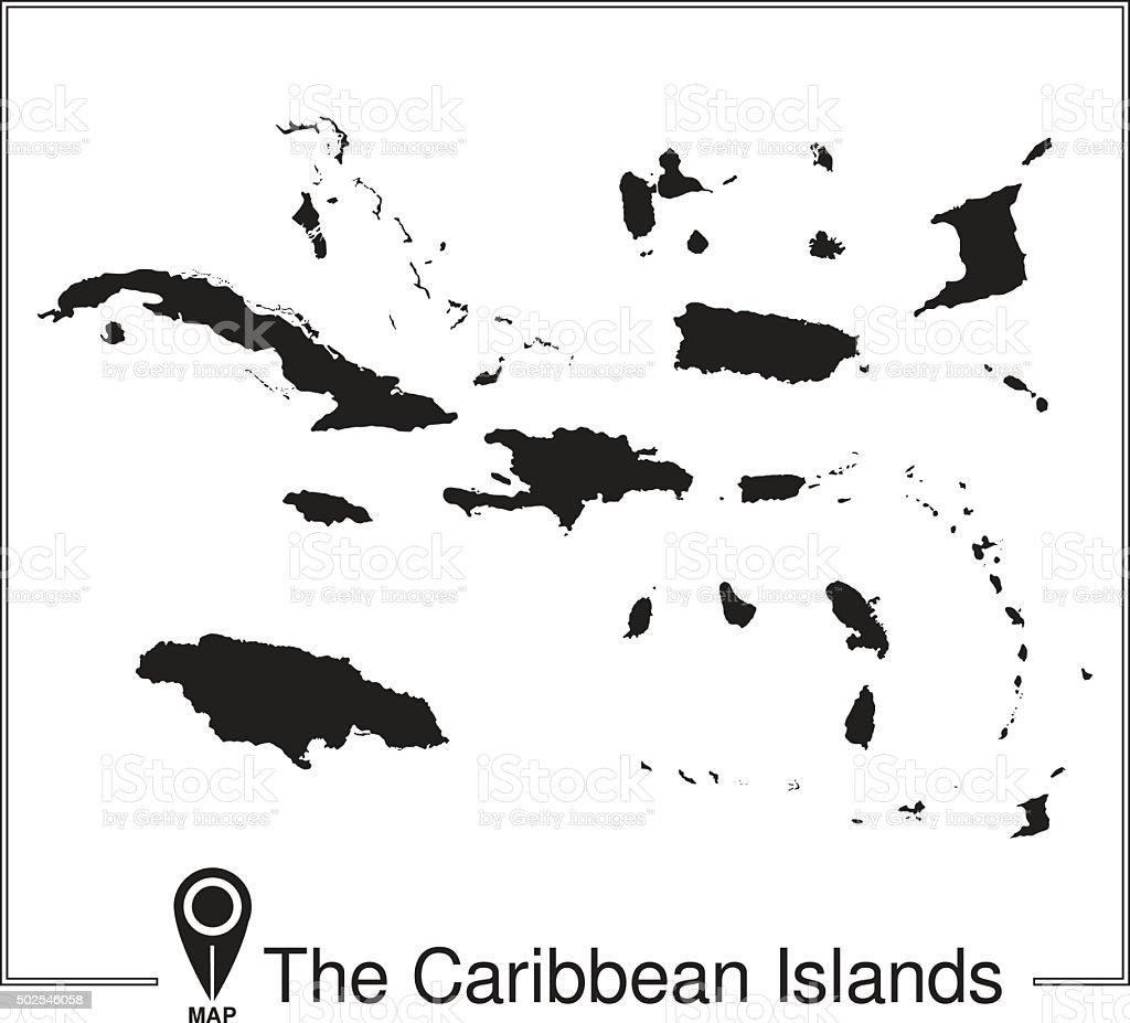 The Caribbean Islands regions map vector art illustration