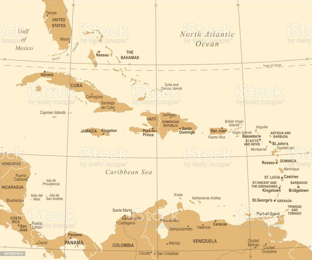 Karibik Karte.Die Karibik Karte Vintage Vektorillustration Stock Vektor Art Und Mehr Bilder Von Alt