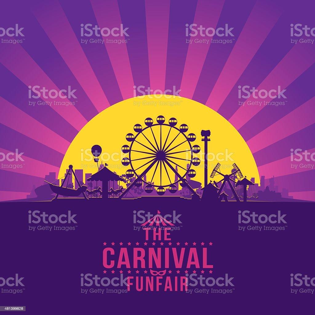 The carnival funfair and amusement vector art illustration