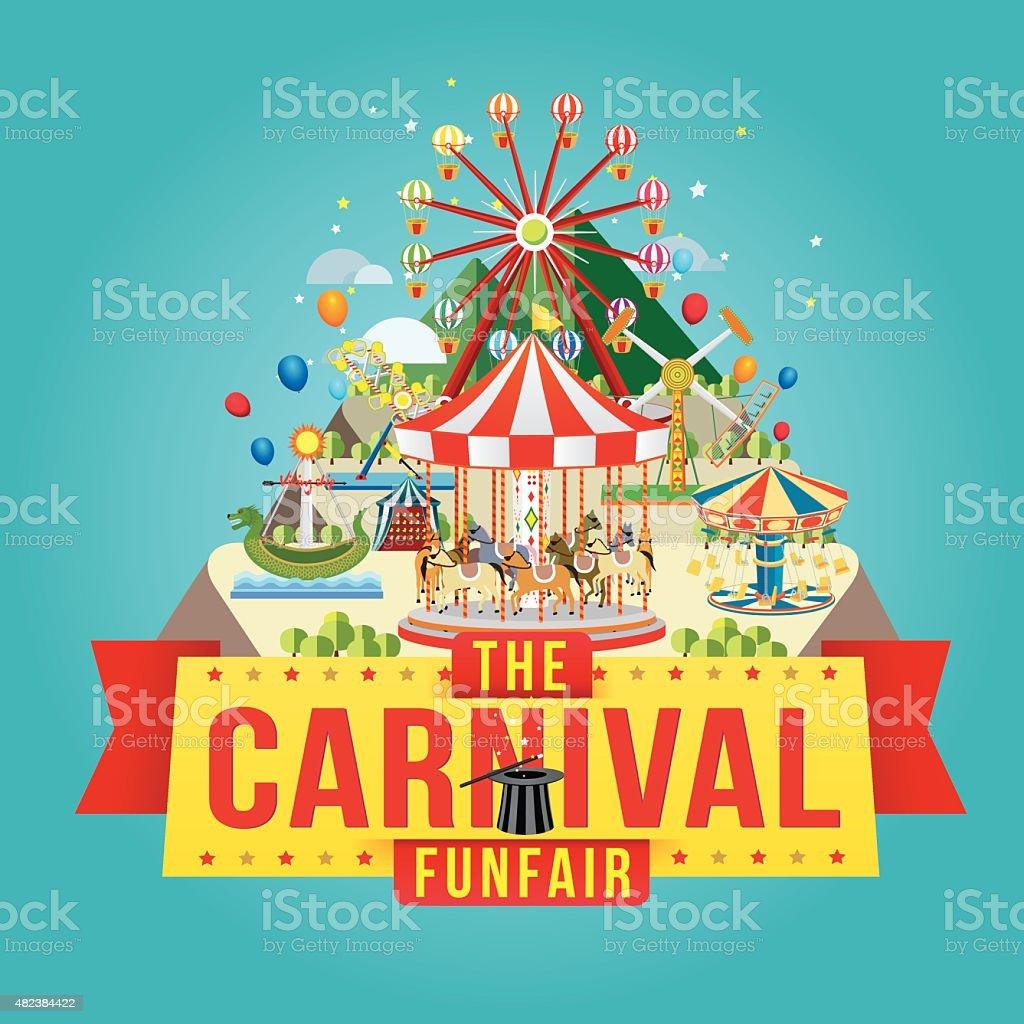 The carnival funfair vector art illustration