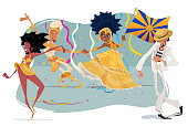 Illustration of people enjoying the carnival, with passers-by, mestre-sala and porta-bandeira celebrating the Brazilian carnival.