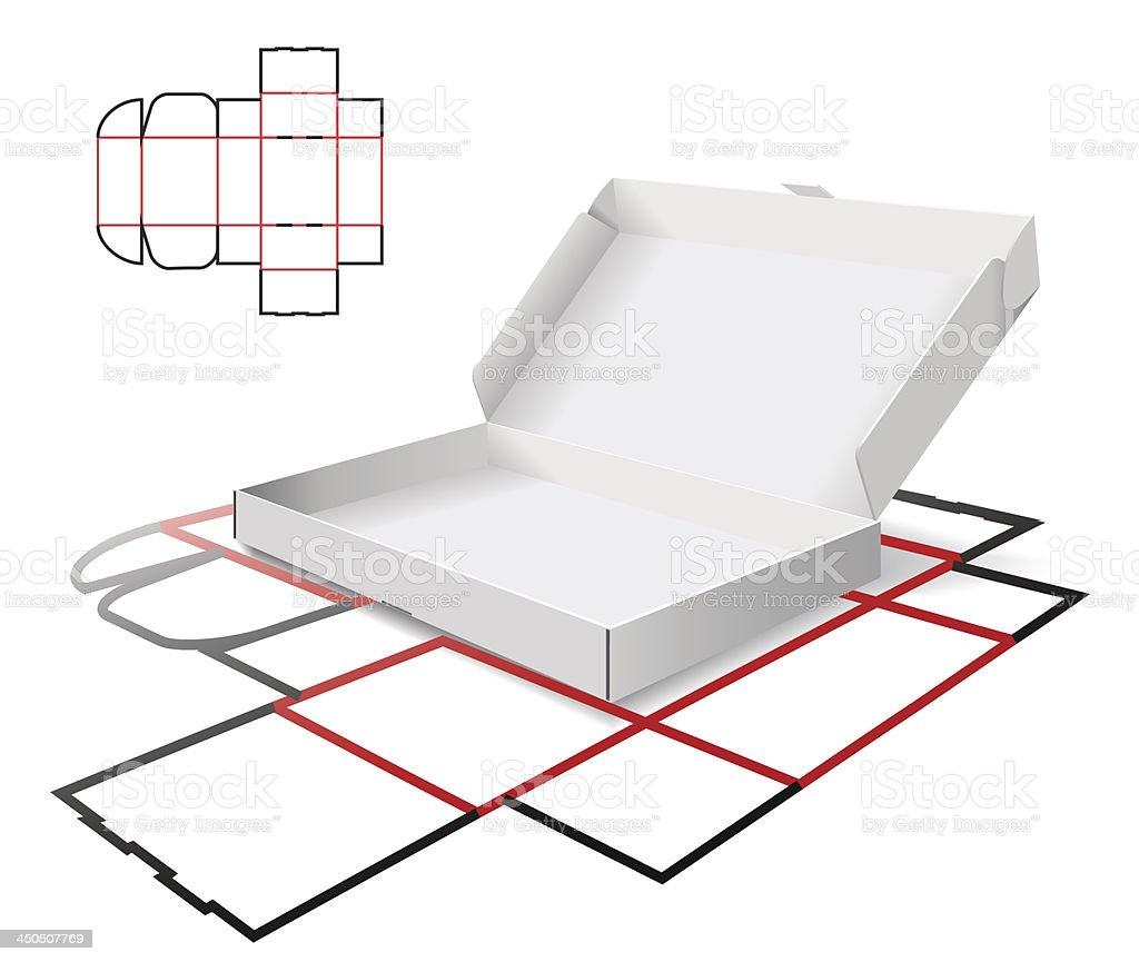 The carton and cutting scheme vector art illustration