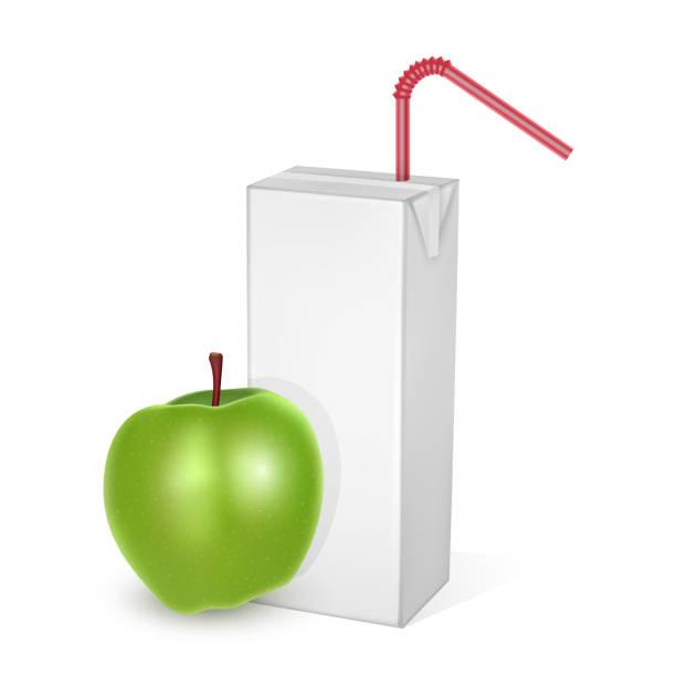 Die Kartonverpackungen Milch oder Saft, isoliert auf hellem Hintergrund. Kartonverpackungen mit Apfelsaft, White pack Mockup – Vektorgrafik