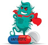 The cartoon depicts a superbug microorganism with a super villain cap, getting strong and resistant because of medicine or antibiotic. Ideal for informative and medicinal materials
