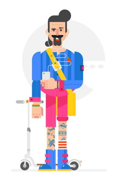 die cartoon-hipster ist in einem flachen stil gemalt. vektor-illustration isoliert auf weißem hintergrund. ein mann mit einem telefon und einem roller. zeichen für druck und website. unternehmensidentität. - kabelskulpturen stock-grafiken, -clipart, -cartoons und -symbole