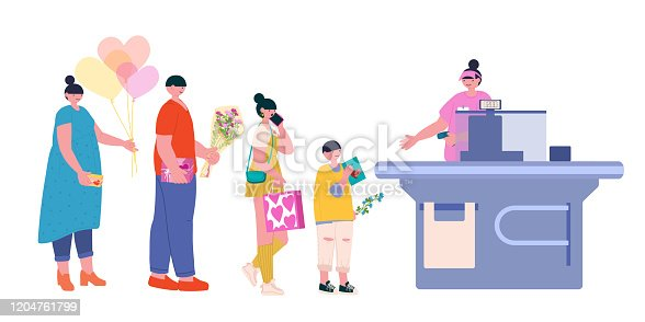The cashier of the supermarket breaks through shopping to people in line - a man with a gift, a boy with a postcard, a girl with a bag and a woman with balls. Fashionable vector flat illustration