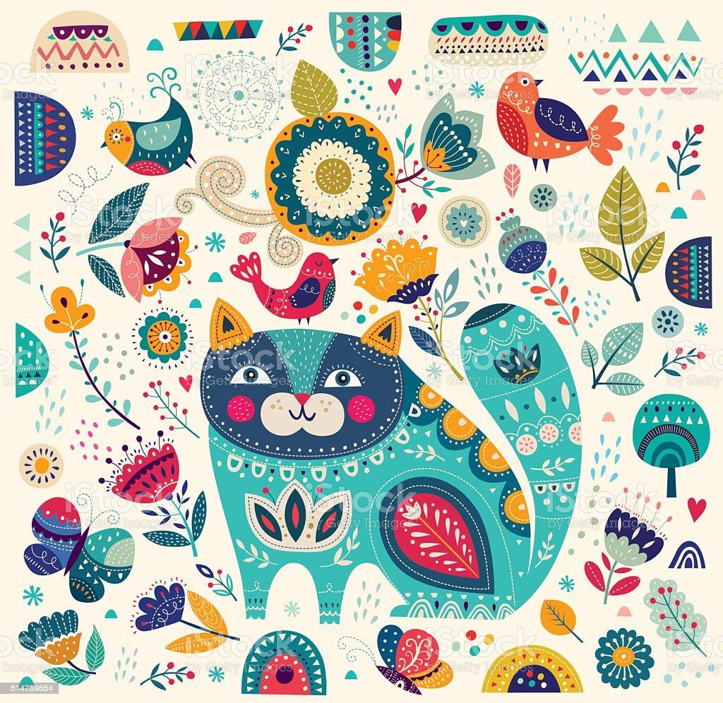 猫と花の背景 - お絵かきのベクターアート素材や画像を多数ご用意