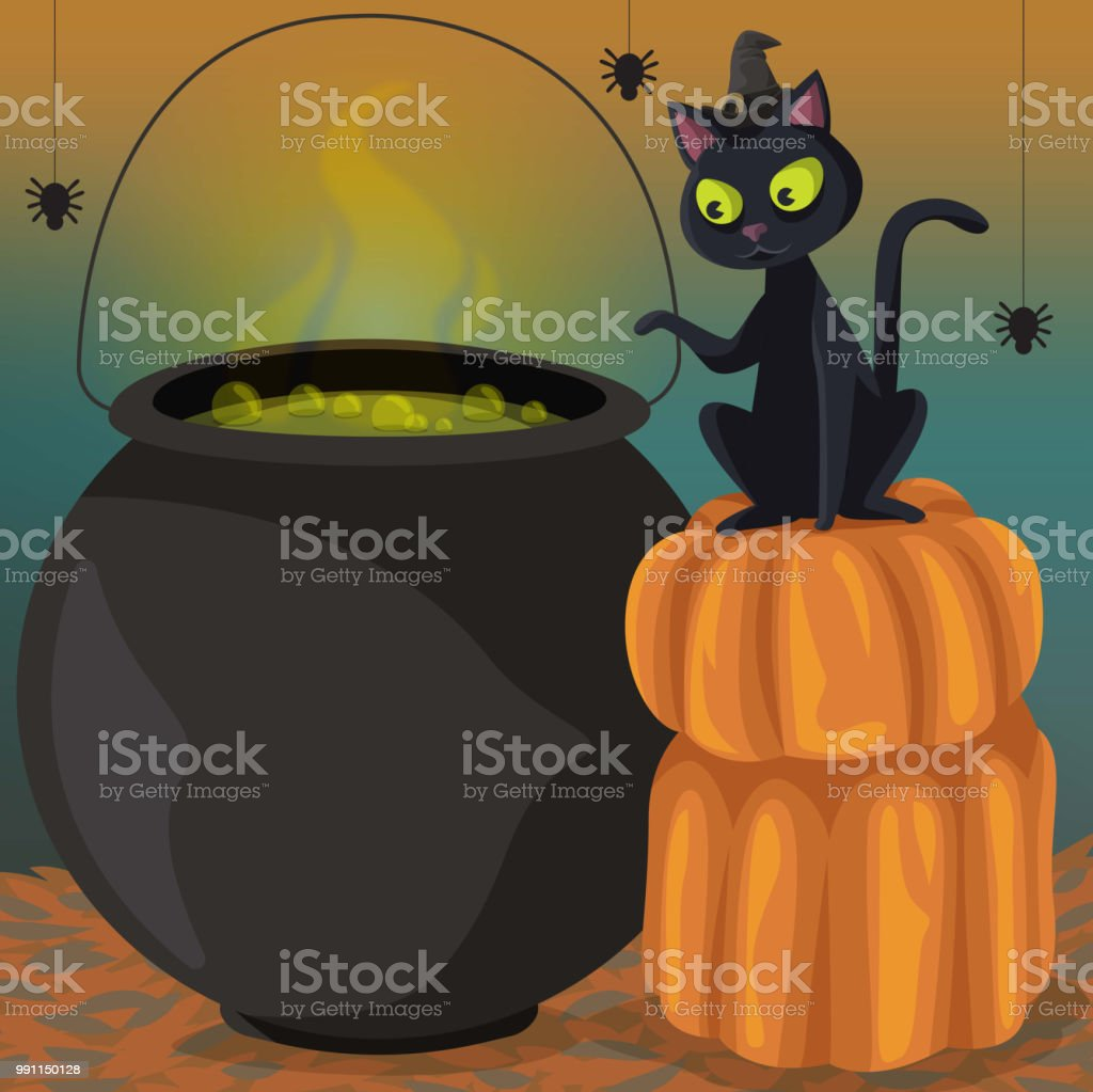 The Cat will put a spell on you! vector art illustration