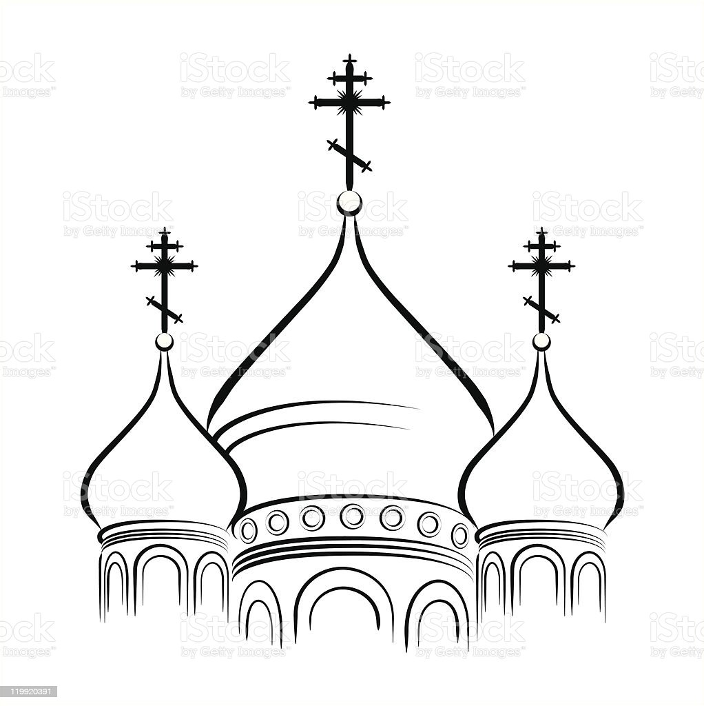 The Cathedral Domes with Crosses (Outline version) royalty-free stock vector art