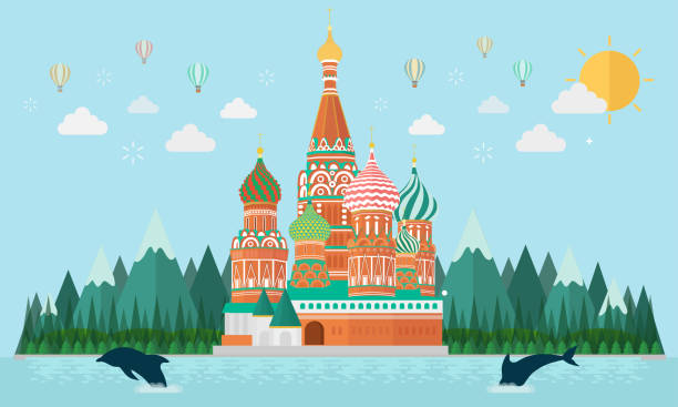 The cathedral of vasily the Blessed St. basil's cathedral in Moscow kremlin stock illustrations