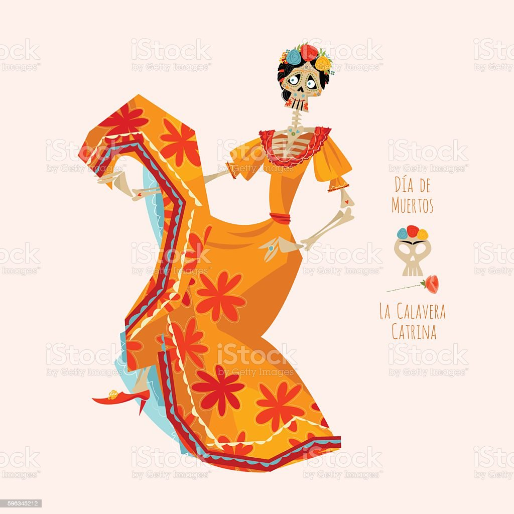 La Calavera Catrina. Dia de Muertos. Dancing skeleton. royalty-free la calavera catrina dia de muertos dancing skeleton stock vector art & more images of adult