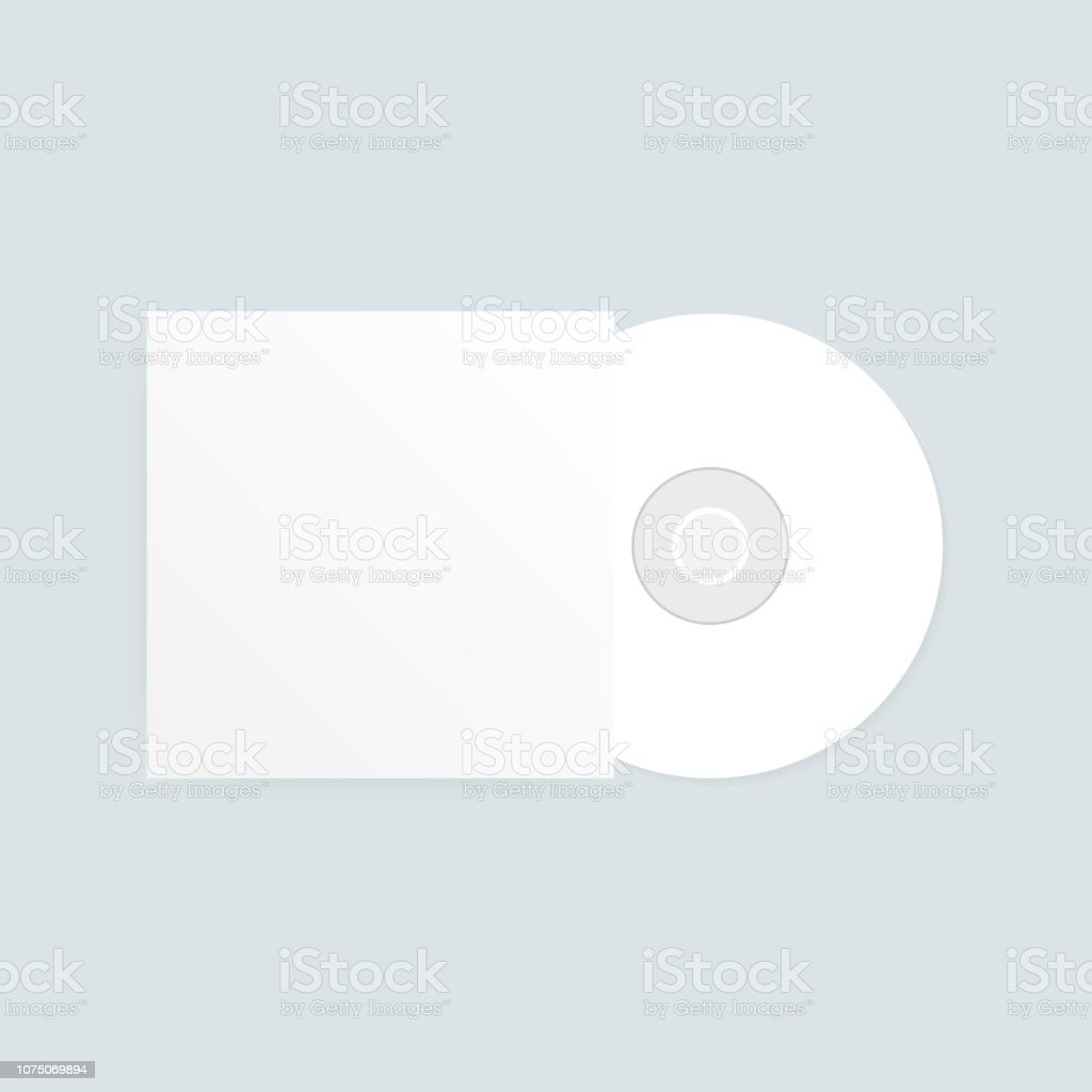 The CD-DVD compact disc and white empty paper case template with shadow on transparent background. Vector illustration vector art illustration