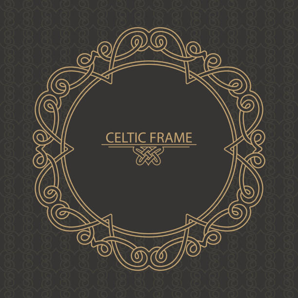 The Celtic golden frame executed in linear style The Celtic golden frame executed in linear style. Round ornaments with the place for the text. Element of design, invitations, congratulations. Vector illustration celtic style stock illustrations