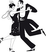 Couple dressed in 1920th fashion dancing the Charleston, black EPS 8 silhouette vector illustration, no white objects