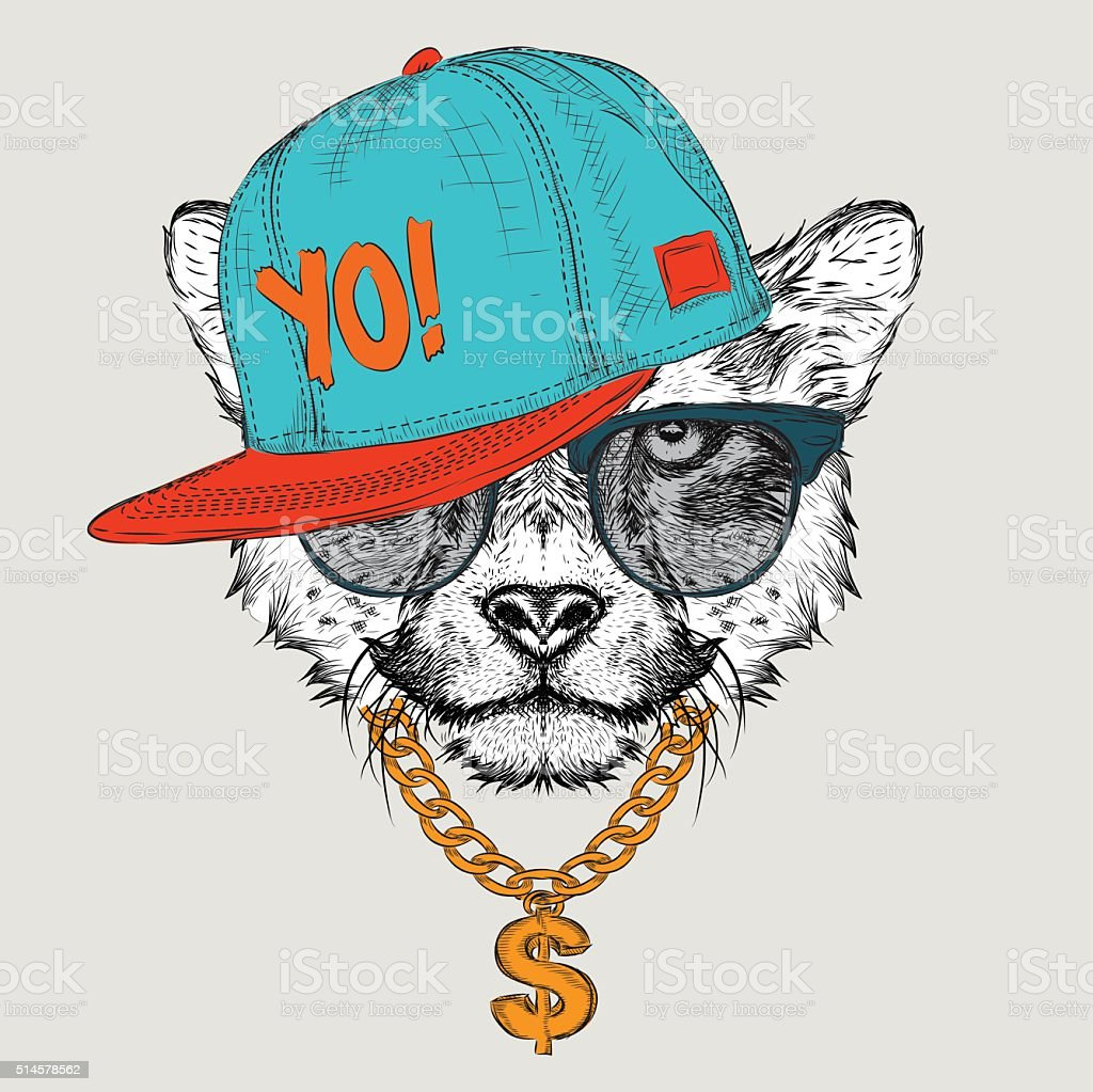 The Cheetah Portrait In Hip Hop Hat Vector Illustration Vector Art Illustration