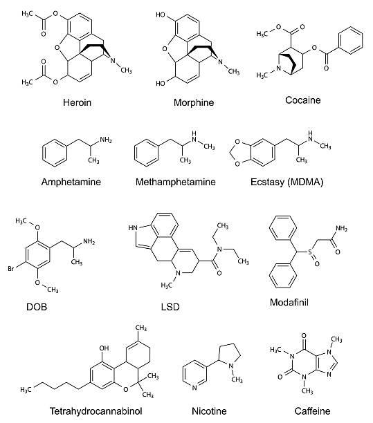 The chemical structural formulas of some drugs The chemical structural formulas of some drugs heroin, morphine, cocaine, amphetamine, methamphetamine, ecstasy, dob, lsd, modafinil, tetrahydrocannabinol, nicotine, caffeine, 2d illustration, vector, isolated on white acid stock illustrations