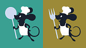 A rat chef with an apron