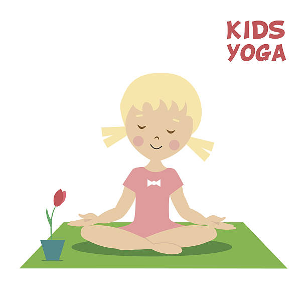 The Child Is Engaged In Kids Yoga Little Girl Exercise Vector Art Illustration