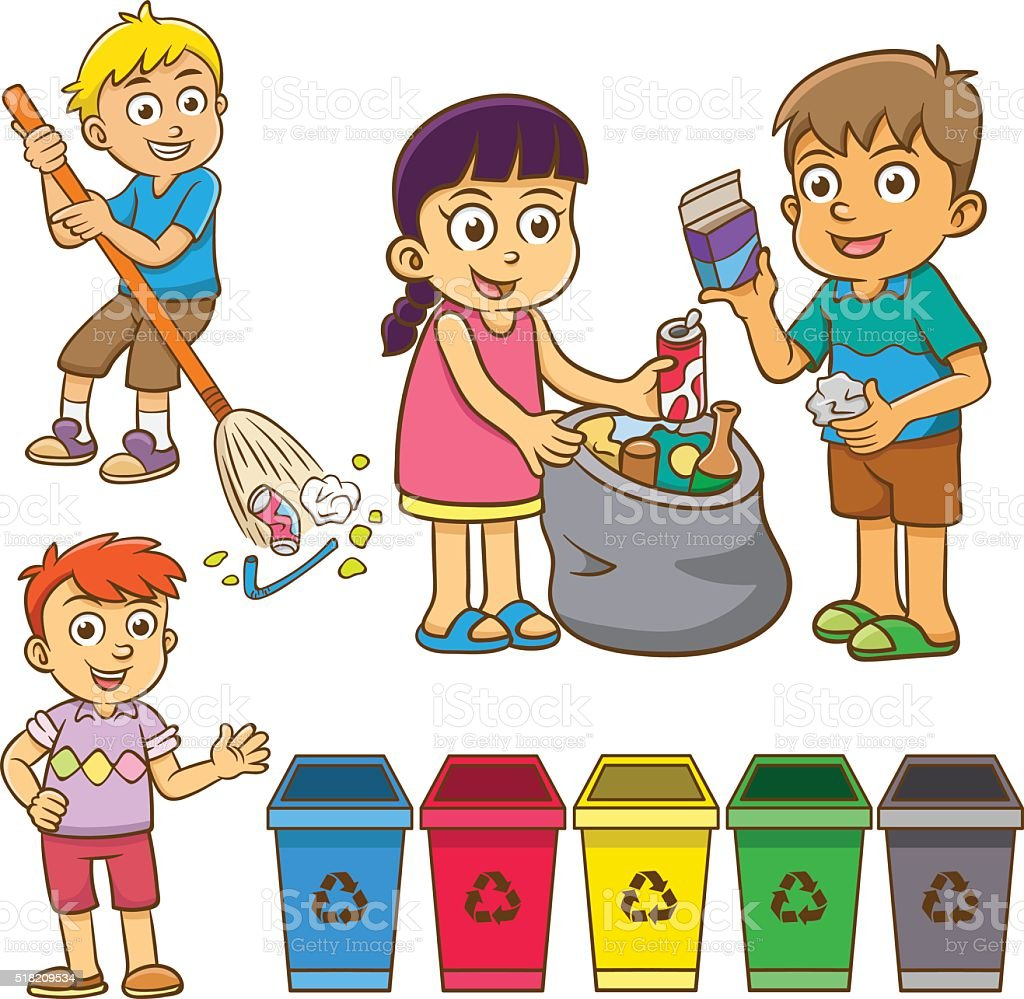 The Child Waste Separation For Recycle Stock Vector Art