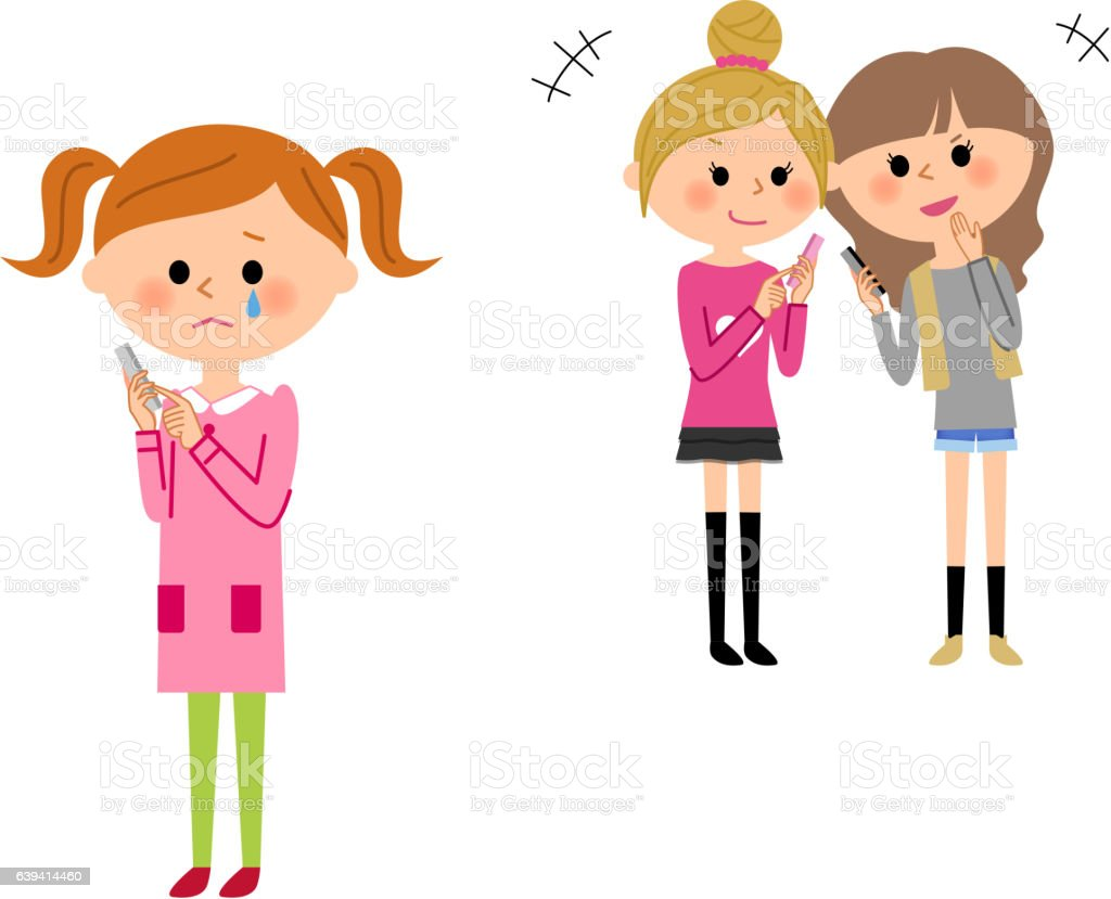 The child who does something spiteful to a friend vector art illustration