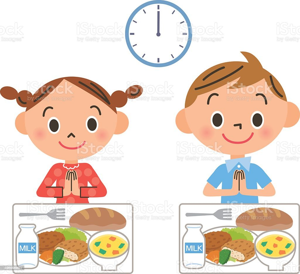 The child who eats lunch vector art illustration