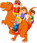 illustration of the children and some of them use the costume and they get into the Tyrannosaurus Rex's body and then some of them holding his tail