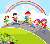 illustration of the children are playing with the scooter and roller skates in the road