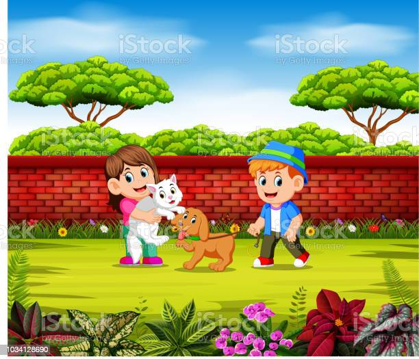 The children are playing with their pets near the red wall vector id1034128690?b=1&k=6&m=1034128690&s=612x612&h=cg3az7qobi ixr cg7uzrg 9nxdbcfcdzb8o0ayn62e=