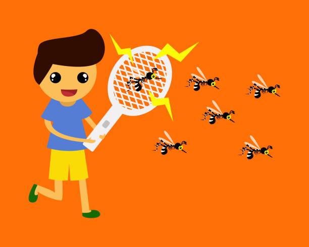die kinder erschrecken mücken durch mosquito swatter. - mückenfalle stock-grafiken, -clipart, -cartoons und -symbole