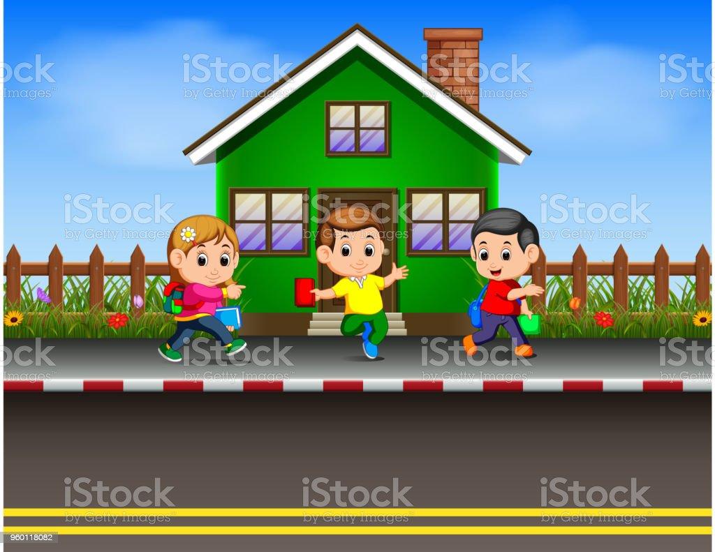 the children going to school vector art illustration