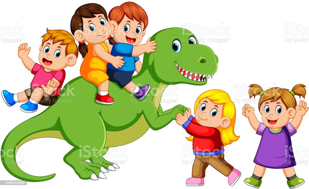 子どものティラノサウルス レックスの体遊びと彼の手を握って