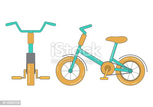 Vehicle kids pedals and a wheel. Objects isolated on a white background.Front view and sideways