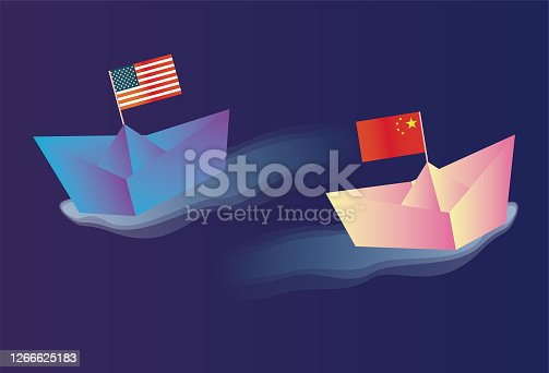 istock The Chinese economy is rising, the US economy is falling 1266625183