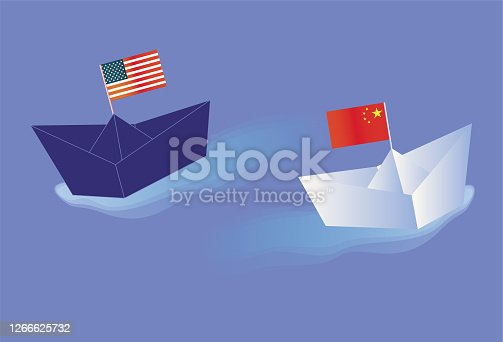 istock The Chinese economy is rising, the US economy is falling 1266625732