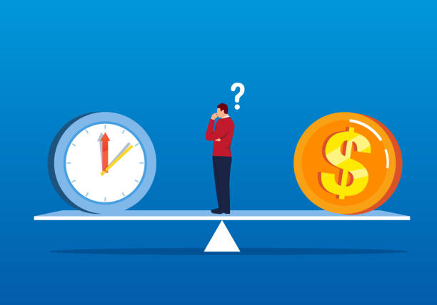 The choice of time and money The choice of time and money time is money stock illustrations