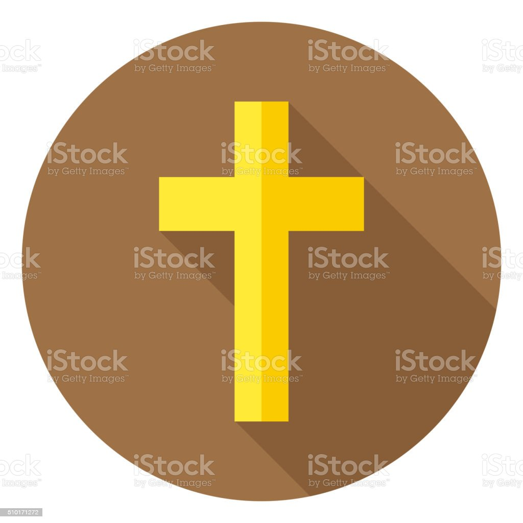 The Christian Cross Circle Icon With Long Shadow Stock Vector Art