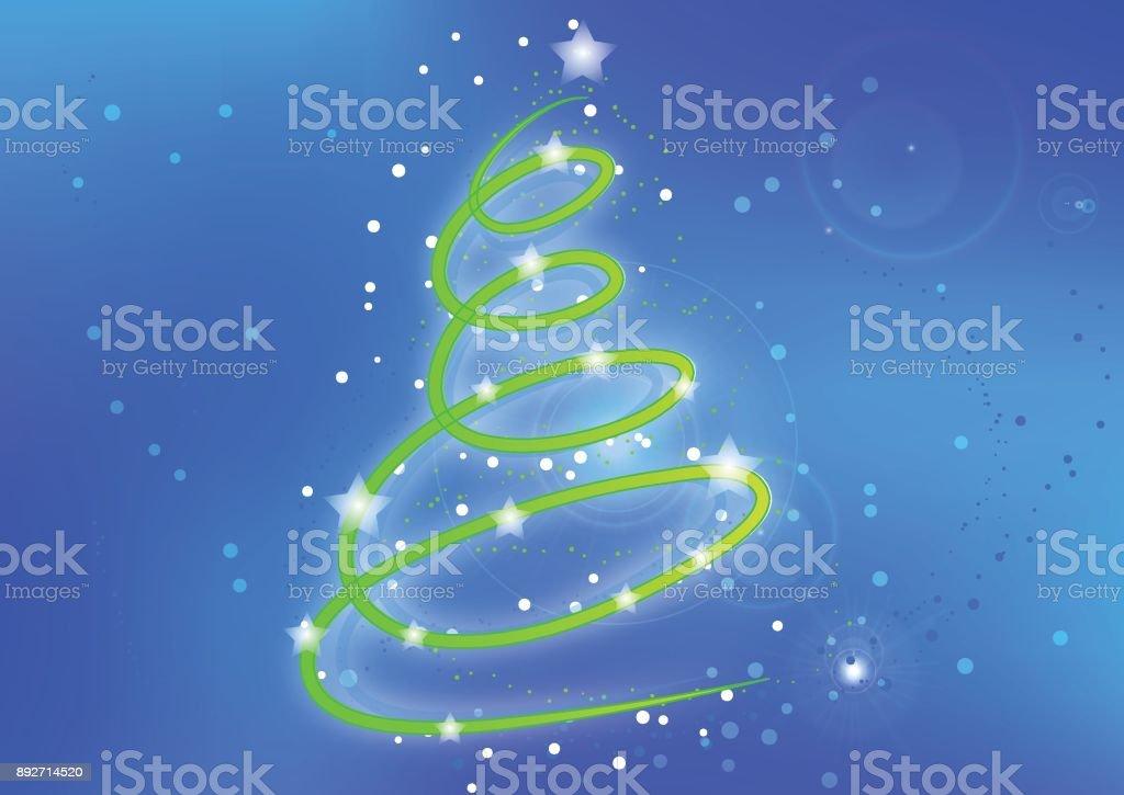 Die Weihnachtskarte Mit Weihnachtsbaum Auf Schnee Hintergrund Stock ...