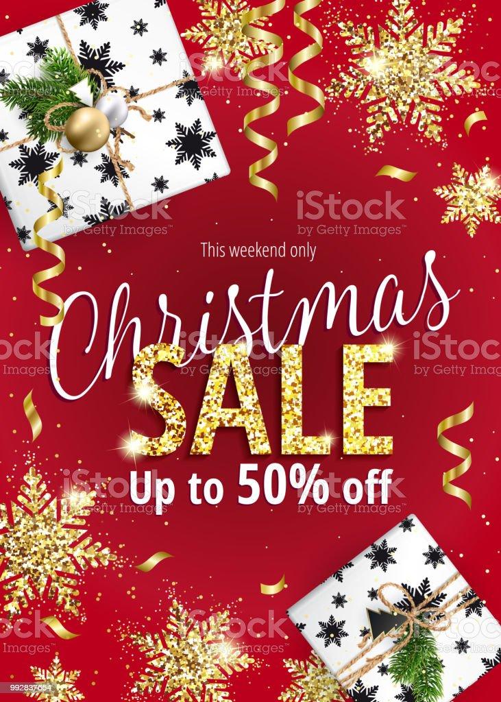 Der Weihnachtsverkauf Rotes Banner Für Web Oder Flyer Stock Vektor ...