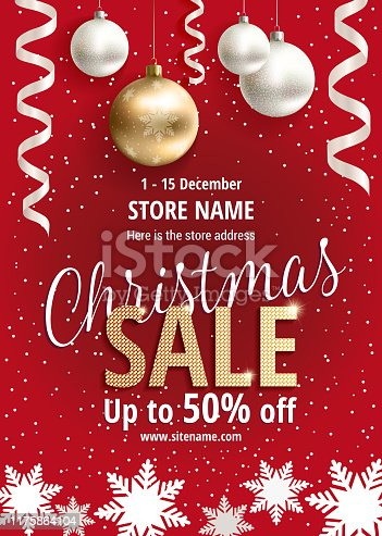 The Christmas sale. Advertising poster for the store. Discounts up to 50 percent. Red banner for website or flyer. Realistic vector. Proportional to A3. Festive new year design template. EPS10.