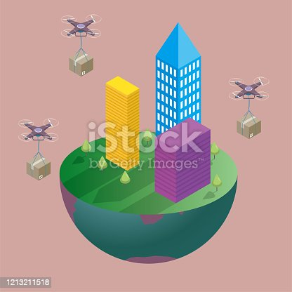 The city building is on a section in the southern hemisphere, with three drones carrying cargo in mid-air. The background is brown.